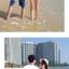 เสื้อคู่รัก ชุดคู่รักเที่ยวทะเลชาย +หญิง เสื้อยืดสีขาวลายคู่รักขับรถเที่ยวชายหาด กางเกงขาสั้นลายต้นมะพร้าวโทนสีฟ้า +พร้อมส่ง+ thumbnail 6