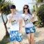 เสื้อคู่รัก ชุดคู่รักเที่ยวทะเลชาย +หญิง เสื้อยืดสีขาวลายคู่รักสวีทพระอาทิพย์ตกดิน กางเกงขาสั้นลายแฉกโทนสีฟ้า +พร้อมส่ง+ thumbnail 1