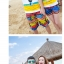 เสื้อคู่รัก ชุดคู่รักเที่ยวทะเลชาย +หญิง เสื้อยืดสีขาวลายคนนั่งมองดูนก กางเกงขาสั้นลายแถบสีหลากสี +พร้อมส่ง+ thumbnail 3
