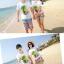 เสื้อคู่รัก ชุดคู่รักเที่ยวทะเลชาย +หญิง เสื้อยืดสีขาวลายต้นมะพร้าว กางเกงขาสั้นลายไทยโทนสีส้ม +พร้อมส่ง+ thumbnail 8