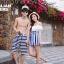 PRE ชุดว่ายน้ำคู่รัก วันพีซทรงแซก บราไหล่ปาด แต่งระบายน่ารัก ตัดต่อกระโปรงลายทาง thumbnail 2