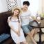 เสื้อคู่รัก แฟชั่นคู่รัก ชายเสื้อยืดคอกลม + เดรสคอกลม สีขาว แต่งลายไทย +พร้อมส่ง thumbnail 4