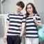 +พร้อมส่ง+ เสื้อคู่รักเกาหลี แฟชั่นคู่รัก ชายหญิง เสื้อยืดคอกลม ลายริ้วใหญ่ สีน้ำเงินสลับขาว thumbnail 1