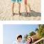 เสื้อคู่รัก ชุดคู่รักเที่ยวทะเลชาย +หญิง เสื้อยืดสีขาวคู่รักนอนอาบแดด กางเกงขาสั้นสีเขียว +พร้อมส่ง+ thumbnail 4