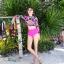 พร้อมส่ง ชุดว่ายน้ำแขนยาว เสื้อครอป ลายดอกไม้ สีชมพูสดใส บิกินี่เอวสูงสีพื้นเข้ากัน thumbnail 4