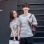 +พร้อมส่ง+ เสื้อคู่รักเกาหลี แฟชั่นคู่รัก ชายหญิง เสื้อยืดคอกลม ลายริ้ว สีเทาสลับขาว thumbnail 2