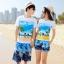 เสื้อคู่รัก ชุดคู่รักเที่ยวทะเลชาย +หญิง เสื้อยืดสีขาวลายคู่รักสวีทเที่ยวทะเล กางเกงขาสั้นลายต้นมะพร้าวโทนสีฟ้า +พร้อมส่ง+ thumbnail 1
