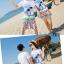เสื้อคู่รัก ชุดคู่รักเที่ยวทะเลชาย +หญิง เสื้อยืดสีขาวลายสวีทริมทะเล กางเกงขาสั้นลายไทยโทนสีส้ม +พร้อมส่ง+ thumbnail 5