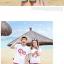 เสื้อคู่รัก ชุดคู่รักเที่ยวทะเลชาย +หญิง เสื้อยืดสีขาวลาย LO VE กางเกงขาสั้นลายแถบสีโทนสีรุ้ง +พร้อมส่ง+ thumbnail 2