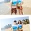 เสื้อคู่รัก ชุดคู่รักเที่ยวทะเลชาย +หญิง เสื้อยืดสีขาวลายคู่รักสวีทเที่ยวทะเล กางเกงขาสั้นลายพระอาทิตย์โทนสีส้ม +พร้อมส่ง+ thumbnail 2