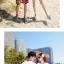 เสื้อคู่รัก ชุดคู่รักเที่ยวทะเลชาย +หญิง เสื้อยืดสีขาวลายคนติดเกาะ กางเกงขาสั้นลายพระอาทิตย์โทนสีส้ม +พร้อมส่ง+ thumbnail 5