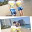 เสื้อคู่รัก ชุดคู่รักเที่ยวทะเลชาย +หญิง เสื้อยืดสีขาวลายคู่รักขับรถเที่ยวชายหาด กางเกงขาสั้นลายต้นมะพร้าวโทนสีฟ้า +พร้อมส่ง+ thumbnail 5