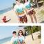 เสื้อคู่รัก ชุดคู่รักเที่ยวทะเลชาย +หญิง เสื้อยืดสีขาวลายคู่รักนอนตากแดด กางเกงขาสั้นลายพระอาทิตย์โทนสีส้ม +พร้อมส่ง+ thumbnail 7