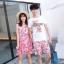 ชุดเสื้อคู่รักเที่ยวทะเล ชายเสื้อยืดพร้อมกางเกงขาสั้น + เดรสแขนกุด สีชมพู แต่งลายดอกไม้ +พร้อมส่ง thumbnail 3