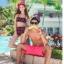 พร้อมส่ง ชุดว่ายน้ำเอวสูง สีดำลายสก็อตชมพูสวยๆ thumbnail 5