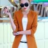 เสื้อสูทแฟชั่น พร้อมส่ง สีส้มอิฐ แขนยาว คอจีน ตัวยาวคลุมสะโพก ติดกระดุมเม็ดเดียวเก๋