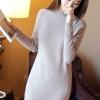 เสื้อกันหนาวไหมพรม พร้อมส่ง สีเทา คอปิด แต่งลายเส้นตรงน่ารัก แขนยาว ตัวยาวคลุมสะโพก