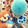 พวงกุญแจ ขนฟู รุ่น Kiss 01 สีฟ้า