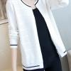 เสื้อคลุมไหมพรม เสื้อคลุมกันหนาว พร้อมส่ง สีขาว แต่งตะเข็บเสื้อด้วยสีดำ ผ้าไหมพรมเนื้อนิ่ม