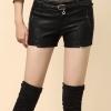 กางเกงหนัง พร้อมส่ง สีดำ กางเกงหนังขาสั้น ทำจากหนังแกะสังเคราะห์ หนังเนื้อนิ่ม