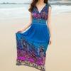 maxi dress ชุดเดรสยาว พร้อมส่ง สีน้ำเงิน คอวีลึก แขนกุด แต่งย่นๆช่วงหัวไหล่ แต่งลวดลายดอกไม้สีม่วงเก๋ๆ