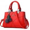 กระเป๋าสะพายข้างผู้หญิง Leather west (Ruby red) แถมพู่ขนๆ