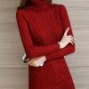 เสื้อกันหนาวไหมพรม พร้อมส่ง สีแดง คอเต่า แขนยาวดีเทลลายทาง ดีเทลลายถักลูกโซ่ทั้งตัว น่ารักๆ