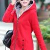 เสื้อกันหนาว พร้อมส่ง สีแดง ซิบหน้า มีฮูทสุดเท่ห์ ฮูทบุด้วยขนสัตว์สังเคราะห์นิ่มๆ