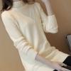 เสื้อกันหนาวไหมพรม พร้อมส่ง สีครีม คอปิด แต่งลายตัววีตรงช่วงคอเสื้อ แขนยาว น่ารักๆ