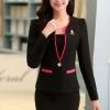 (พร้อมส่ง M,L,XL)ชุดสูททำงาน เซ็ตคู่ เสื้อสูทสีดำแต่งขริบสีชมพู คอวีลึกติดกระดุมเม็ดเดียวเก๋ แขนยาว กระโปรงทรงเอ