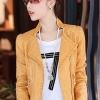 เสื้อแจ็คเก็ต เสื้อหนังแฟชั่น พร้อมส่ง สีเหลือง หนังด้าน มาดเซอร์ คอจีน ดีเทลด้วยปกโฉบเฉี่ยว สุดเท่ห์ หนัง PU คุณภาพดี