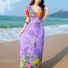 maxi dress ชุดเดรสยาว พร้อมส่ง สีม่วง คอวีลึก ลายดอกไม้สีสัน สม๊อคช่วงเอว ผ้ายืดหยุ่น ใส่สบาย