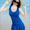 ( มีสินค้าพร้อมส่ง Size M )ชุดว่ายน้ำแฟชั่น : ชุดว่ายน้ำวันพีช สีน้ำเงิน แต่งช่วงเอวย่นๆ ด้านหลังผูกโบว์เซ็กซี่ๆ กระโปรงพริ้วๆ