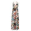 Maxi dress ชุดเดรสยาว พร้อมส่ง สีกรม สายคล้องคอ แต่งลวดลายดอกไม้