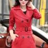 เสื้อโค้ทหนัง เสื้อกันหนาว เสื้อแจ็คเก็ตหนัง พร้อมส่ง สีแดงสด คอปก หนัง PU คุณภาพพรีเมี่ยม ตัวยาวคลุมสะโพก
