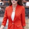 เสื้อสูทแฟชั่น เสื้อสูทสำหรับผู้หญิง พร้อมส่ง สีส้ม คอวี แต่งเว้าช่วงคอเสื้อ ผ้าคอตตอน 100 % เนื้อดี คุณภาพงานพรีเมี่ยม งานตัดเย็บเนี๊ยบ