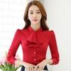 เสื้อเชิ้ตทำงาน เสื้อแฟชั่น สีแดง คอจีนแต่งระบายช่วงคอเสื้อน่ารัก แขนยาว เนื้อผ้ามันเงา ลื่นๆใส่สบาย