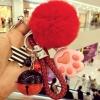 พวงกุญแจ ขนฟู รุ่น Kiss 01 สีแดง