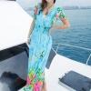 maxi dress ชุดเดรสยาว พร้อมส่ง สีฟ้า คอวีลึก ลายดอกไม้สีสัน สม๊อคช่วงเอว สวยมากๆค่ะ