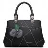 กระเป๋าสะพายข้างผู้หญิง Leather west (black) แถมพู่ขนๆ