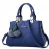 กระเป๋าสะพายข้างผู้หญิง Leather west (Deep blue) แถมพู่ขนๆ