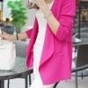 เสื้อคลุมแฟชั่น พร้อมส่ง สีชมพูบานเย็น แขนยาว แต่งด้วยปกโฉบเฉี่ยวยอดนิยม