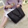 กระเป๋าสะพายข้างใบใหญ่ Leather woman (black)