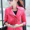 เสื้อแจ็คเก็ต เสื้อหนังแฟชั่น พร้อมส่ง สีชมพู คอปก ดีเทลด้วยปกโฉบเฉี่ยว 2 ชั้นด้านขวา สุดเท่ห์ หนัง PU คุณภาพดี หนังเนื้อนิ่มหน้าใส่