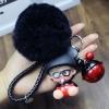 พวงกุญแจ ขนฟู รุ่น Baby doll สีดำ