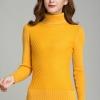 เสื้อกันหนาวไหมพรม พร้อมส่ง สีเหลือง คอเต่า แขนยาว ดีเทลลายตารางน่ารักๆ ตัวยาว คลุมสะโพก