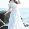 MAXI DRESS ชุดเดรสยาว พร้อมส่ง สีขาว ผ้าชีฟองเนื้อผ้าวิ้งๆ สวยมากๆค่ะ ดีเทลระบายเป็นชั้นช่วงคอเสื้อ กระโปรงบานพริ้วๆ
