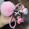 พวงกุญแจ ขนฟู รุ่น Baby doll สีชมพู