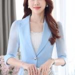 เสื้อสูทแฟชั่น เสื้อสูทสำหรับผู้หญิง พร้อมส่ง สีฟ้า ผ้าคอตตอน 100 % เนื้อดี คุณภาพงานพรีเมี่ยม