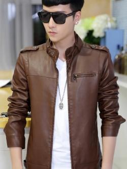 (พร้อมส่ง Size L,XL )แจ็คเก็ตหนังผู้ชาย เสื้อหนังผู้ชาย สีน้ำตาล หนัง PU คุณภาพงานพรีเมี่ยม หนังด้านขึ้นเงา มีซับในบุด้วยผ้าขนสัตว์ คอจีน แต่งหัวไหล่เก๋